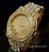 Luxury Gold Finish Iced Out Lab Diamond Roman Numeral Couples Watch Set - FANATICS365