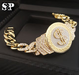 "8.5"" CZ Full Iced Out Money $ Cuban Bracelet - FANATICS365"