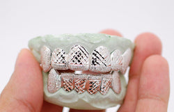 Custom 10k Gold Diamond Dust Diamond Cuts 14k Gold Plated Fangz Silver Grill - FANATICS365