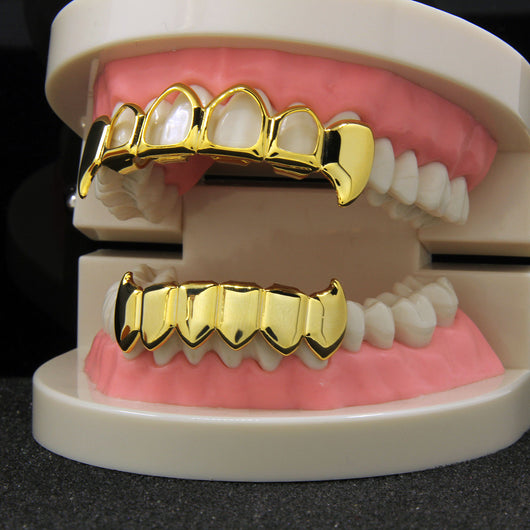 14k GP Hollow Fang Top & Solid Fangs Bottom Grillz Set - FANATICS365