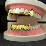 14k GP Half Fang Top & Solid Fangs Bottom Grillz Set - FANATICS365