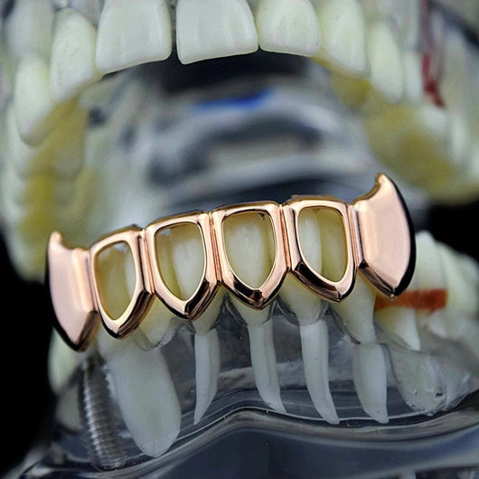 Four Open Face 14k Rose Gold Plated Lower Bottom Fangs Grill - FANATICS365