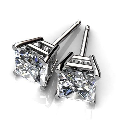 14k White Gold Plated Round Cut Cubic Zirconia Stud Earrings - FANATICS365