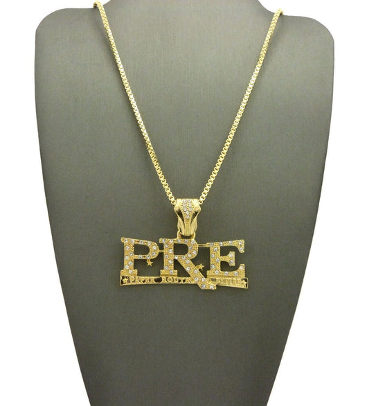 ICED OUT GOLD PLATED 'PRE' PENDANT & 24