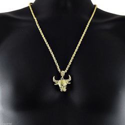 14k Yellow Gold Plated 24in Bull Head Hip Hop Rope Chain Necklace 4 MM - FANATICS365