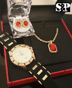 ICED OUT GOLD PT CZ WATCH, RUBY NECKLACE & EARRINGS GIFT COMBO SET - FANATICS365