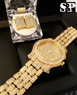 Gold PT Techno Pave Simulated Diamond Watch & Earrings Set - FANATICS365