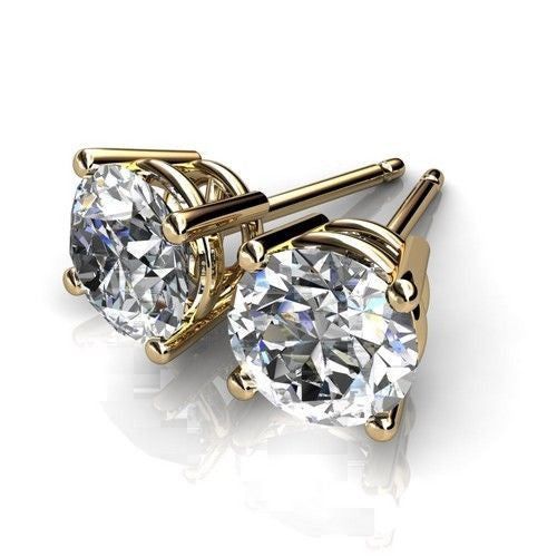 14k Yellow Gold Plated Round Cut Cubic Zirconia Stud Earrings - FANATICS365
