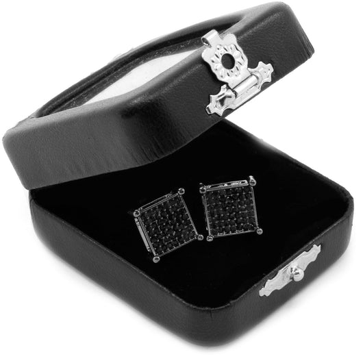 Black Princess Cut Square Cz Basket Screw Back Stud Earrings - FANATICS365