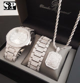 WHITE GOLD PT WATCH & FULL ICED OUT NECKLACE & BRACELET Box Set
