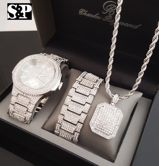 WHITE GOLD PT WATCH & FULL ICED OUT NECKLACE & BRACELET Box Set - FANATICS365