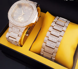 ICED OUT GOLD PT LAB DIAMONDS WATCH & BRACELET Box Set - FANATICS365