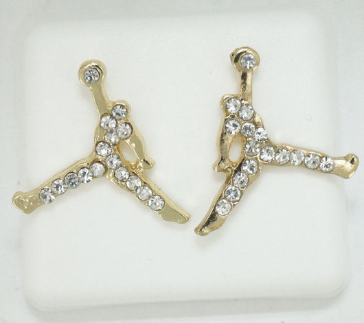 Iced Out Jumpman Gold CZ Stud Earrings In Gift Box - FANATICS365