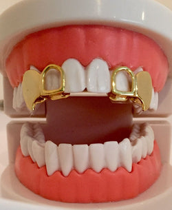 14K GP Grillz Double Cap Open Face Fangs Upper 2 Piece Set - FANATICS365