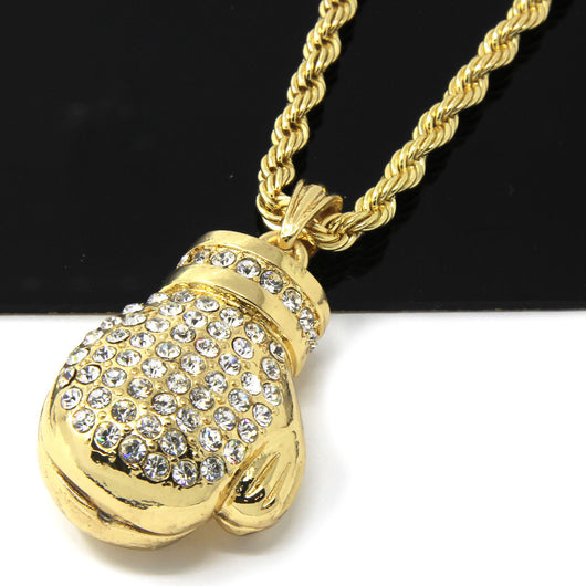 14k Yellow Gold Plated 24in Iced Out Boxing Glove Rope Chain Necklace 4 MM - FANATICS365
