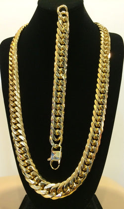 18mm 14k GOLD FINISH STAINLESS STEEL MIAMI CUBAN LINK CHAIN & BRACELET - FANATICS365