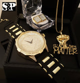 'BLACK LIVES MATTER' WATCH, NECKLACE & EARRINGS COMBO SET - FANATICS365