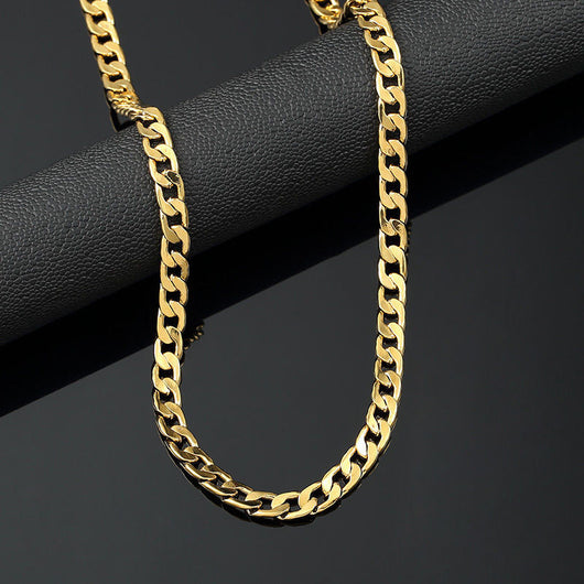18K Yellow Gold Plated 24in Cuban Chain Necklace 4.7 MM - FANATICS365