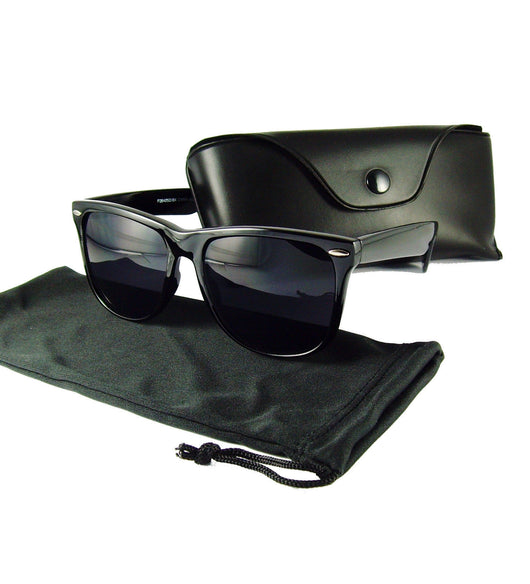 Retro Style Black Frame w/Dark Lens Sunglasses - FREE CASE - FANATICS365