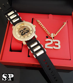 ICED OUT GOLD PT #23 WATCH & NECKLACE COMBO SET - FANATICS365