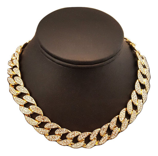 QUAVO CHOKER 14K GOLD FINISH ICED OUT 15MM 16