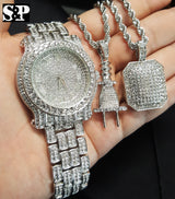 Iced Out Watch, Power Plug & Iced Square Chain Bling Box - FANATICS365