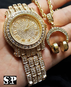 Full Iced Out Watch & Headphone Pendant Chain Bling Box - FANATICS365
