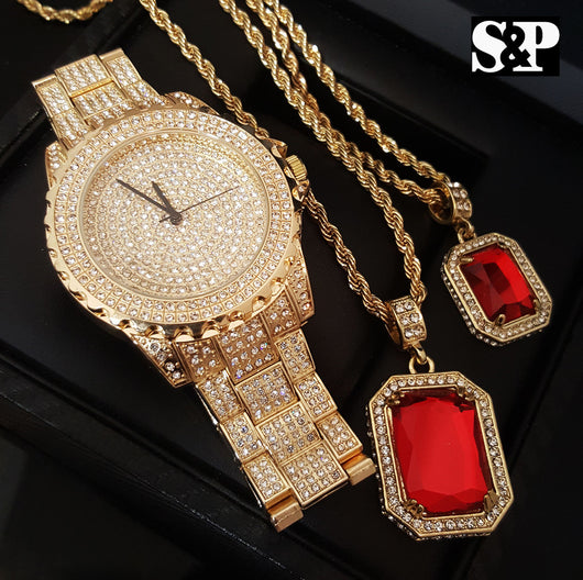 Iced Out Lab Diamond Watch & Red Ruby 2 Necklace Bling Box - FANATICS365