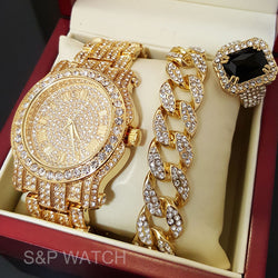 GOLD TONE WATCH, RING & BRACELET Bling Box - FANATICS365