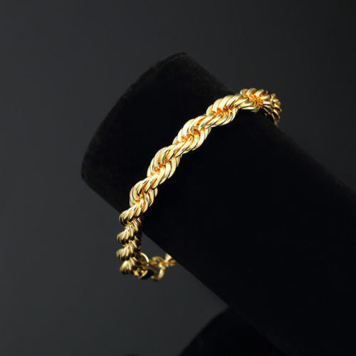 Mens 14K Yellow Gold Plated 8in Rope Link Bracelet 4 MM - FANATICS365