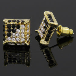 Gold and Black CZ Cube Iced Out Micro Pave Stud Earrings - FANATICS365