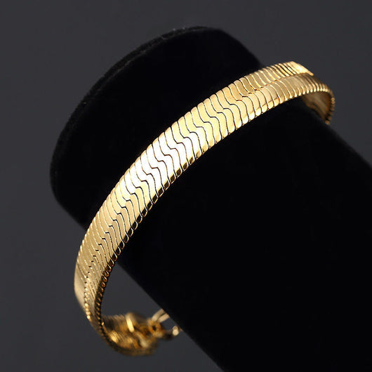 14K Yellow Gold Plated 8in Herringbone Link Bracelet 7 MM - FANATICS365