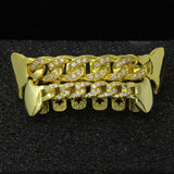 14k GP Cz Cuban Fang Grillz Top & Bottom Set - FANATICS365