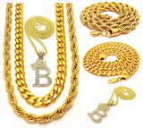 LIL BOOSIE B LETTER CROWN STAINLESS STEEL CUBAN ROPE CHAIN SET - FANATICS365