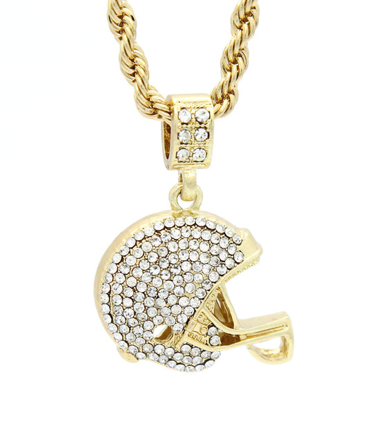 14k Yellow Gold Plated 24in Football Helmet 4 mm Rope Chain Necklace - FANATICS365