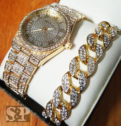Iced Out Gold PT Simulated Diamond WATCH & Cuban Bracelet Gift Set - FANATICS365