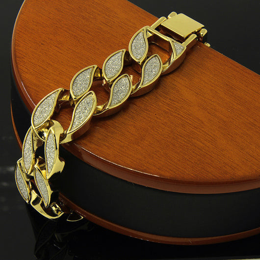 Sand Blast Bracelet Cuban Chain Link 14k Gold Plated 18MM Wide 8.5