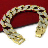 "Sand Blast Bracelet Cuban Chain Link 14k Gold Plated 18MM Wide 8.5"" - FANATICS365"