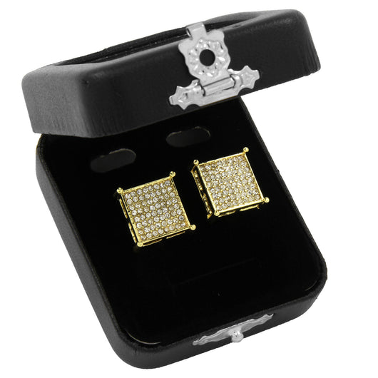 Iced Out Small Square Flat Screen Block Screw Back Stud Earrings - FANATICS365