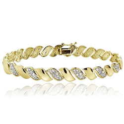 0.50ct TDW Diamond San Marco Tennis Bracelet in Gold Plated Brass - FANATICS365