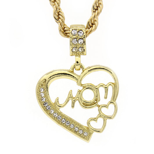 Gold tone Hip-Hop Heart MOM Cz Micro Pendant Rope 4mm 24
