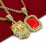 "14K GP Chains 24"" & 30"" Lion & Ruby - FANATICS365"