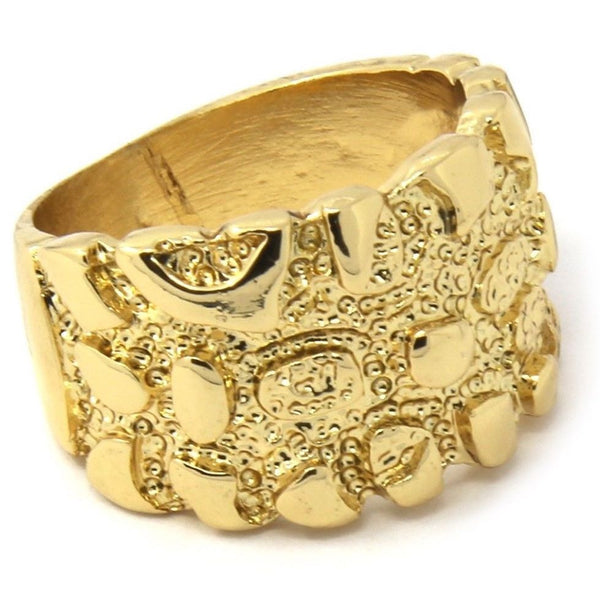14K Gold Plated Hip Hop Gold Nugget Bar Ring - FANATICS365