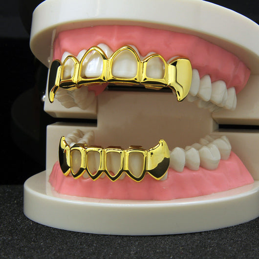 14k Gold Plated Hollow Fangs Grillz - Top & Bottom - FANATICS365