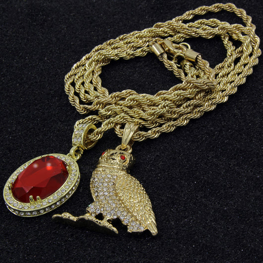 **SUPER SALE** Owl & Red Ruby Bundle Set Pendant/24