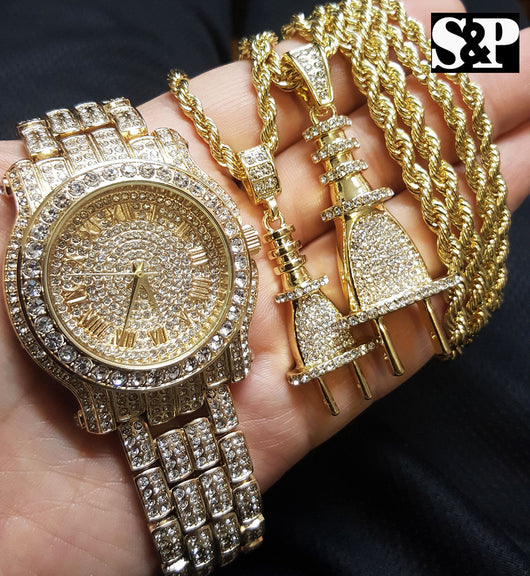 Luxury Iced Out Lab Diamond Watch & Power Plug 2 Necklace Combo Set - FANATICS365