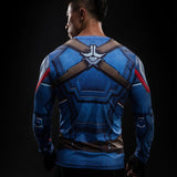 CAPTAIN AMERICA LONG SLEEVE COMPRESSION SHIRT - FANATICS365