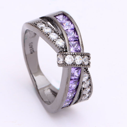 Amethyst Criss Cross Crystal Ring - FANATICS365