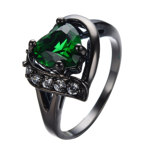 Emerald Heart Black Gold Filled Ring - FANATICS365
