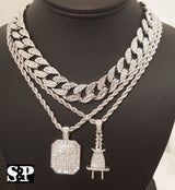"Quavo 3 Piece Iced Out 15mm 16"" Miami Cuban Choker Chain & Power Plug Chain Set - FANATICS365"